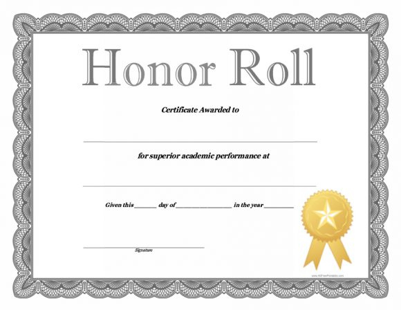 40+ Honor Roll Certificate Templates & Awards - Printable intended for Unique Certificate Of Honor Roll Free Templates