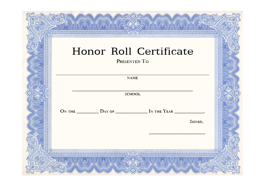 40+ Honor Roll Certificate Templates & Awards - Printable pertaining to Certificate Of Honor Roll Free Templates