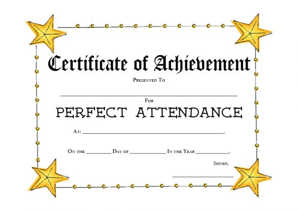 40 Printable Perfect Attendance Award Templates & Ideas for Perfect Attendance Certificate Template