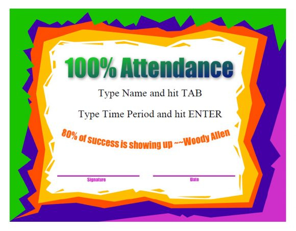 40 Printable Perfect Attendance Award Templates & Ideas with Perfect Attendance Certificate Free Template