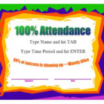40 Printable Perfect Attendance Award Templates & Ideas With Unique Perfect Attendance Certificate Template Editable