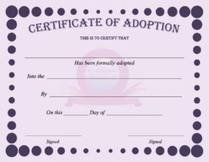 40+ Real & Fake Adoption Certificate Templates – Printable for Fresh Pet Birth Certificate Templates Fillable