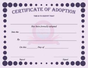 40+ Real & Fake Adoption Certificate Templates – Printable inside Pet Birth Certificate Template