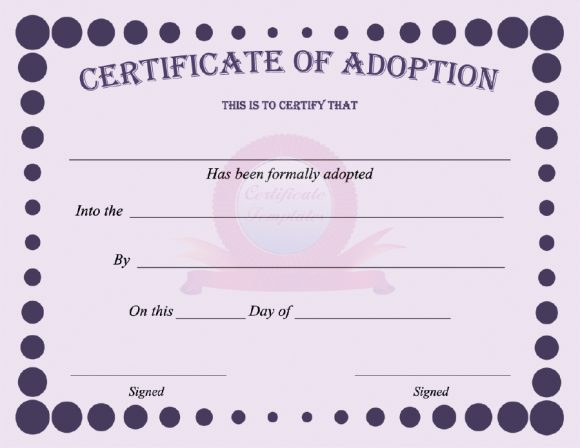 40+ Real & Fake Adoption Certificate Templates - Printable inside Pet Birth Certificate Template