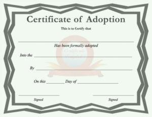 40+ Real & Fake Adoption Certificate Templates – Printable inside Quality Blank Adoption Certificate Template