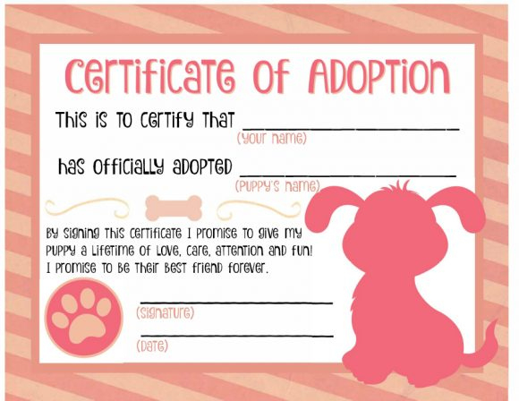 40+ Real & Fake Adoption Certificate Templates - Printable throughout Quality Dog Adoption Certificate Template