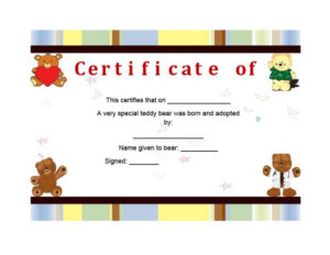 40+ Real & Fake Adoption Certificate Templates – Printable Throughout Unique Pet Birth Certificate Template 24 Choices