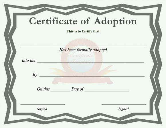 40+ Real & Fake Adoption Certificate Templates - Printable with Child Adoption Certificate Template Editable