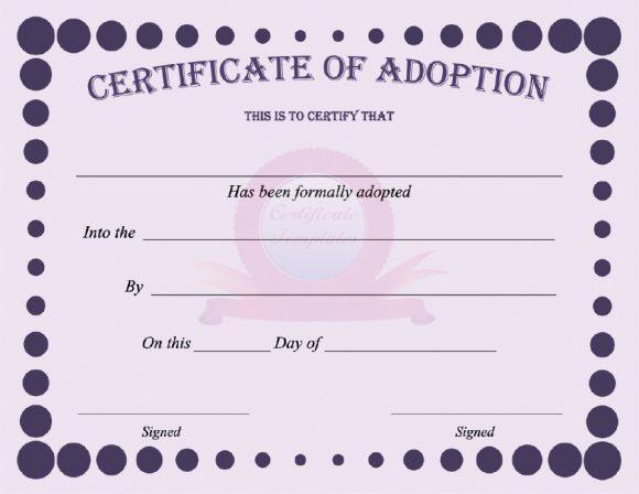 40+ Real & Fake Adoption Certificate Templates - Printable with Quality Blank Adoption Certificate Template