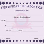 40+ Real & Fake Adoption Certificate Templates – Printable Within Dog Adoption Certificate Template
