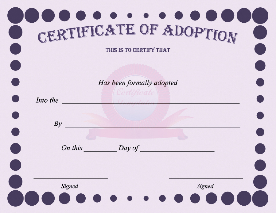 40+ Real & Fake Adoption Certificate Templates - Printable within Dog Adoption Certificate Template