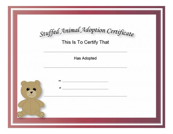 40+ Real & Fake Adoption Certificate Templates - Printable within Unique Pet Birth Certificate Template 24 Choices