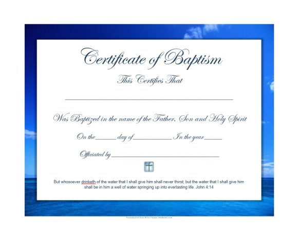 47 Baptism Certificate Templates (Free) - Printable Templates for Fresh Baptism Certificate Template Word