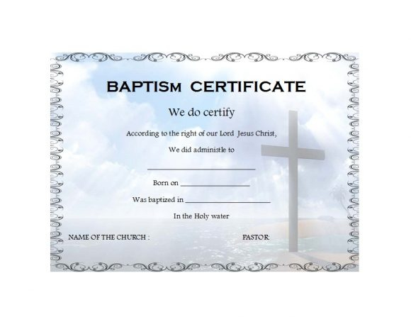 47 Baptism Certificate Templates (Free) - Printable Templates throughout Christian Baptism Certificate Template