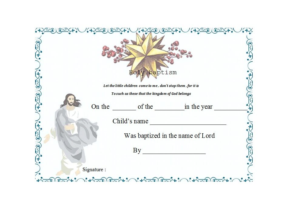 47 Baptism Certificate Templates (Free) - Printable Templates throughout Unique Baby Death Certificate Template