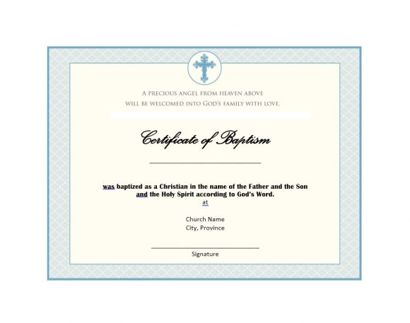 47 Baptism Certificate Templates (Free) - Printable Templates with regard to Baptism Certificate Template Word