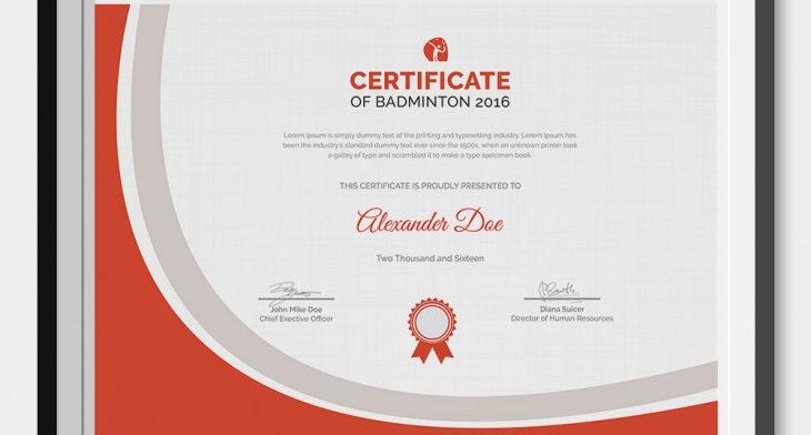 5 Badminton Certificates - Psd & Word Designs | Design intended for Unique Badminton Certificate Templates