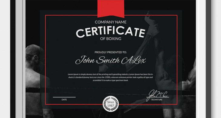5+ Boxing Certificates - Psd & Word Designs   Design Trends throughout Unique Boxing Certificate Template
