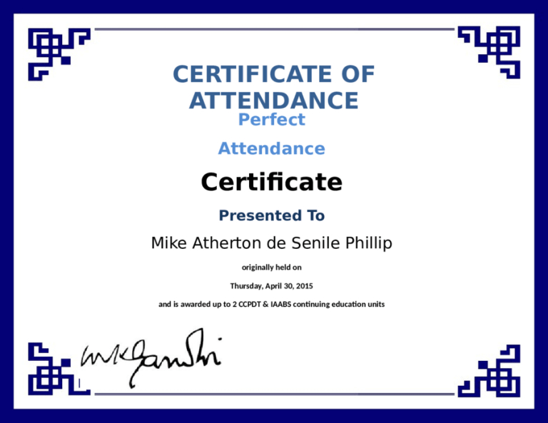 5+ Certificate Of Attendance Templates - Word Excel regarding Quality Attendance Certificate Template Word