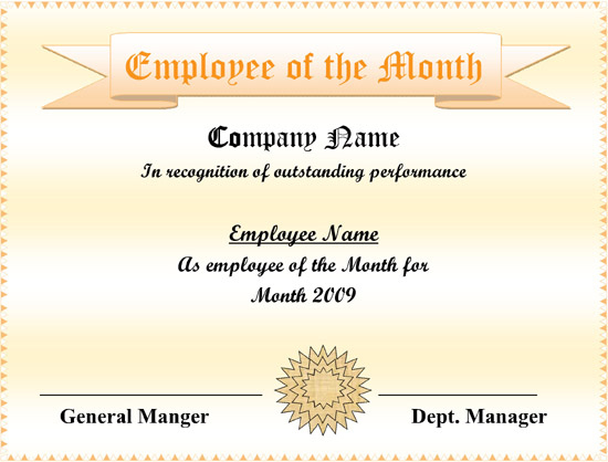 5+ Employee Of The Month Certificate Templates – Word, Pdf, Ppt pertaining to Employee Of The Month Certificate Templates