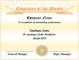 5+ Employee Of The Month Certificate Templates – Word, Pdf within Fresh Manager Of The Month Certificate Template