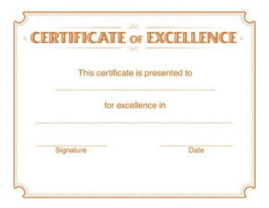 5 Free Printable Certificates Of Excellence Templates | Hloom in Quality Free Certificate Of Excellence Template