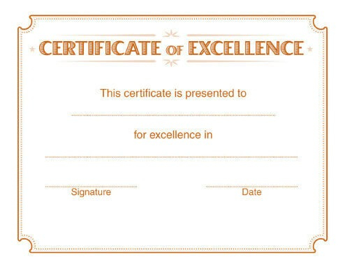 5 Free Printable Certificates Of Excellence Templates   Hloom with Certificate Of Excellence Template Free Download