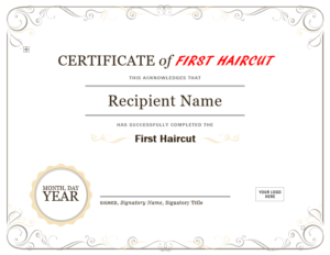 5+ Free Printable First Haircut Certificate Templates – Blue inside New First Haircut Certificate Printable Free 9 Designs