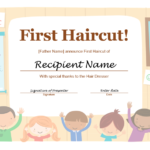 5+ Free Printable First Haircut Certificate Templates – Blue Intended For First Haircut Certificate Printable Free 9 Designs