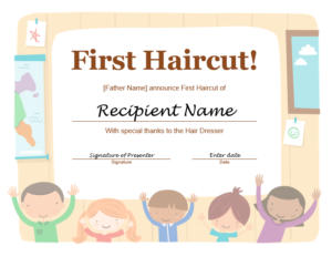 5+ Free Printable First Haircut Certificate Templates – Blue pertaining to First Haircut Certificate