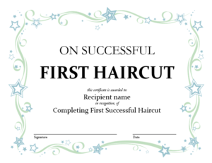5+ Free Printable First Haircut Certificate Templates – Blue pertaining to New First Haircut Certificate Printable Free 9 Designs