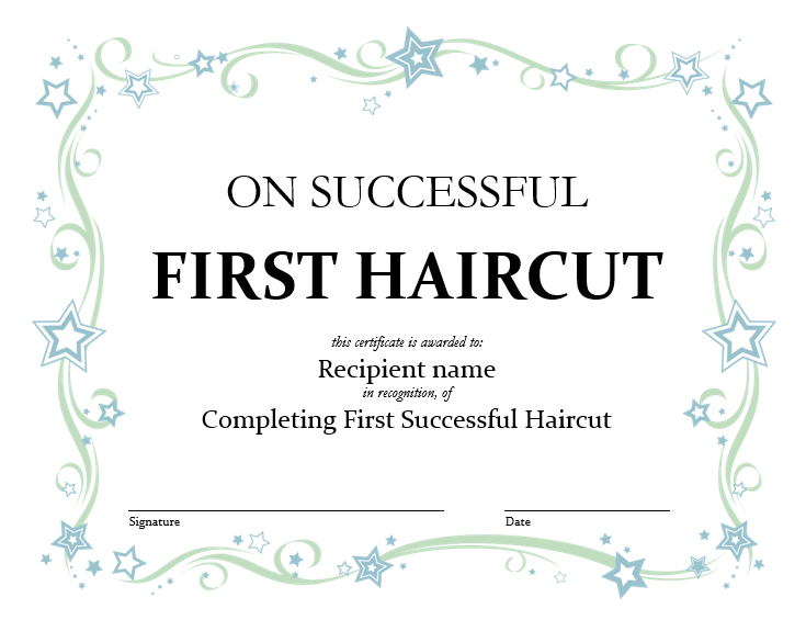 5+ Free Printable First Haircut Certificate Templates - Blue pertaining to New First Haircut Certificate Printable Free 9 Designs