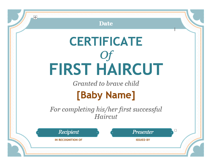 5+ Free Printable First Haircut Certificate Templates - Blue with regard to New First Haircut Certificate Printable Free 9 Designs