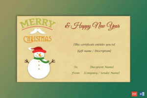 50+ Christmas Gift Certificate Templates For 2019 (Word | Pdf) for Merry Christmas Gift Certificate Templates