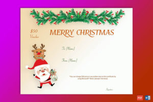 50+ Christmas Gift Certificate Templates For 2019 (Word | Pdf) pertaining to Fresh Merry Christmas Gift Certificate Templates