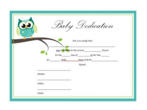 50 Free Baby Dedication Certificate Templates – Printable intended for New Certificate For Best Dad 9 Best Template Choices