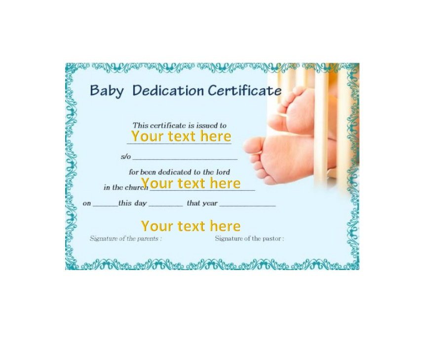 50 Free Baby Dedication Certificate Templates - Printable with Free Printable Baby Dedication Certificate Templates
