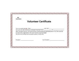50 Free Volunteering Certificates – Printable Templates regarding Unique Volunteer Certificate Template