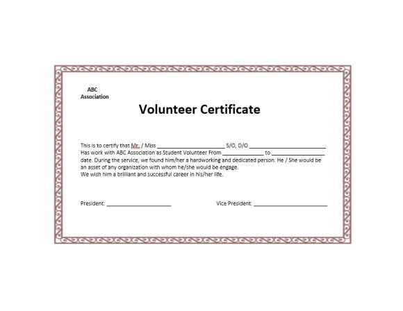 50 Free Volunteering Certificates - Printable Templates throughout Volunteer Certificate Templates