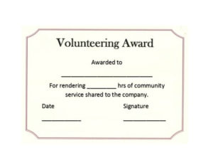 50 Free Volunteering Certificates – Printable Templates with Community Service Certificate Template Free Ideas