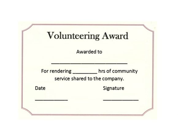 50 Free Volunteering Certificates - Printable Templates with Community Service Certificate Template Free Ideas