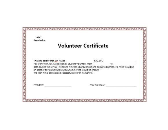 50 Free Volunteering Certificates - Printable Templates with regard to Volunteer Certificate Templates