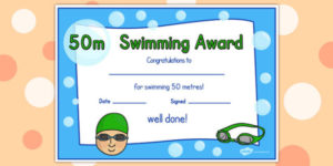 50M Swimming Certificate (Teacher Made) intended for Swimming Certificate Template