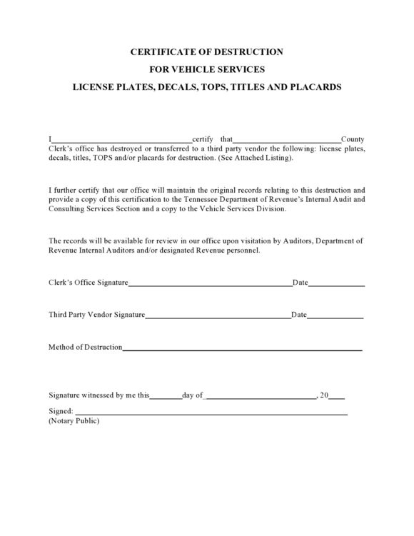 52 Useful Certificates Of Destruction (& Examples intended for Certificate Of Disposal Template