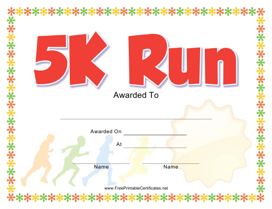 5K Run Award Certificate Template Download Printable Pdf for 5K Race Certificate Template