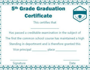 5Th Grade Graduation Certificate Template Free   Graduation for Best 5Th Grade Graduation Certificate Template