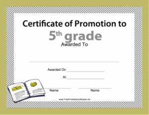 5Th Grade Promotion Certificate Printable Certificate pertaining to Best 5Th Grade Graduation Certificate Template