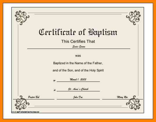 6+ Baptismal Certificate Template | Credit Letter Sample within Best Baptism Certificate Template Word Free