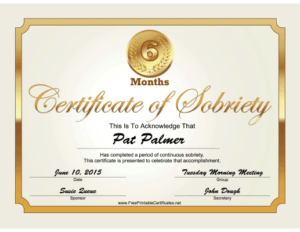 6 Months Sobriety Certificate (Gold) Printable Certificate in Certificate Of Sobriety Template Free