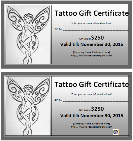 6 Tattoo Gift Certificate Templates   Free Sample Templates intended for Tattoo Gift Certificate Template